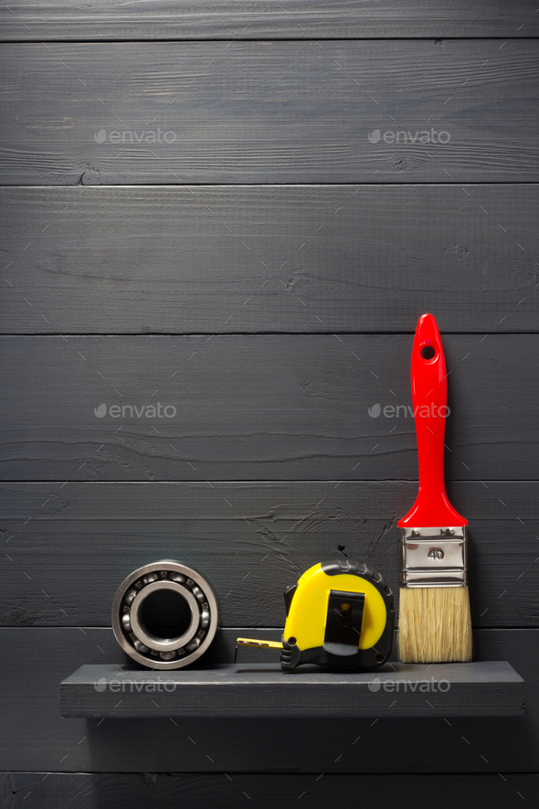 set of tools and instruments on wood - Stock Photo - Images