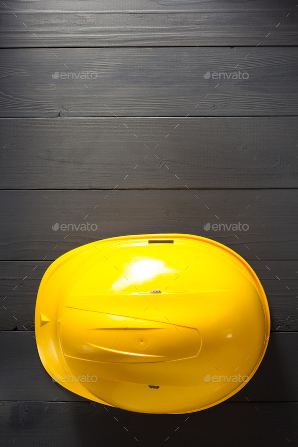 helmet on wooden  background - Stock Photo - Images