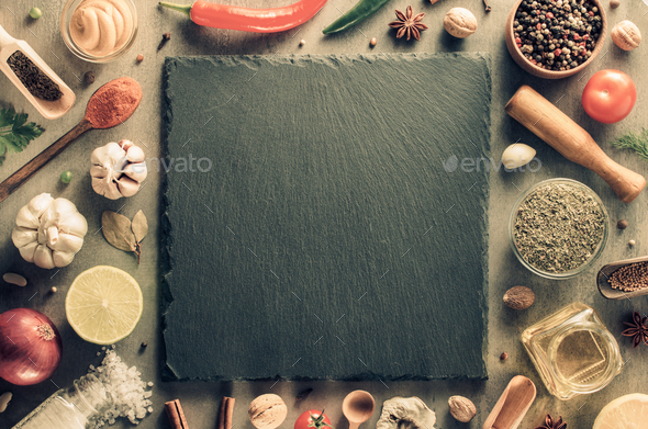 herbs and spices at table background - Stock Photo - Images