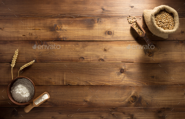 ears and wheat flour on wood - Stock Photo - Images