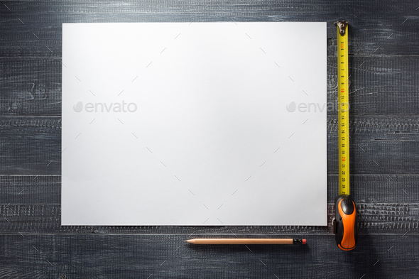 paper sheet at wooden  background - Stock Photo - Images