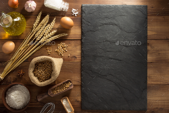 bakery products on wood - Stock Photo - Images