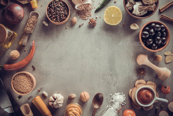 herbs and spices at table - Stock Photo - Images