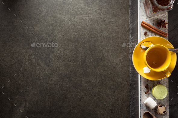 cup of coffee and ingredients on table - Stock Photo - Images