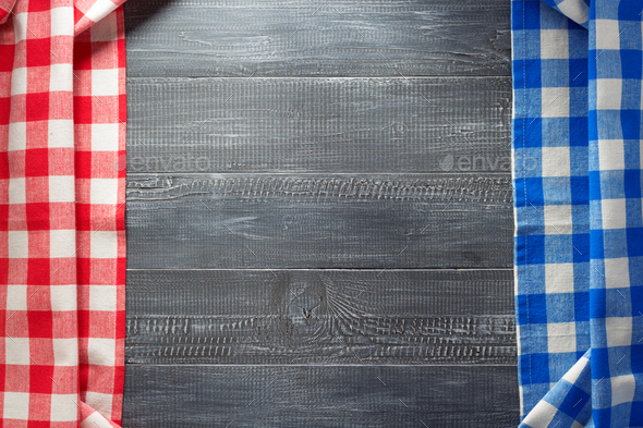 cloth napkin checked on wood - Stock Photo - Images