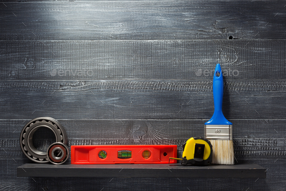 set of tools and instruments on  shelf - Stock Photo - Images