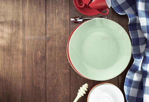 dishes set on wood - Stock Photo - Images