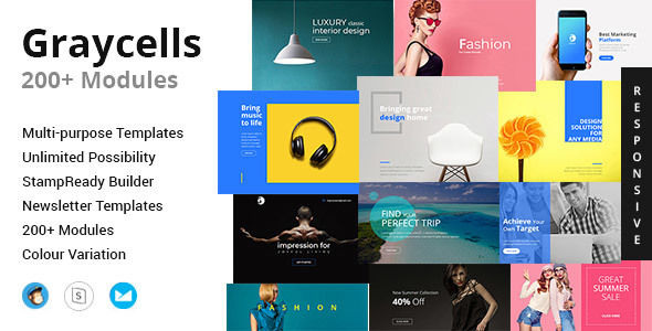 Graycells-Email v8 | 200+ Attractive Modules Template