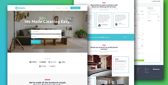 cleaning landing page template — cleanio (with booking page) (business) Cleaning Landing Page Template — Cleanio (with Booking Page) (Business) cleanio preview