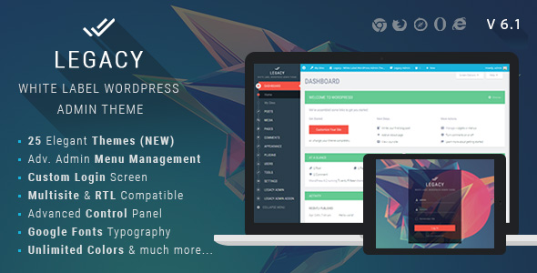 Legacy - White label WordPress Admin Theme - CodeCanyon Item for Sale