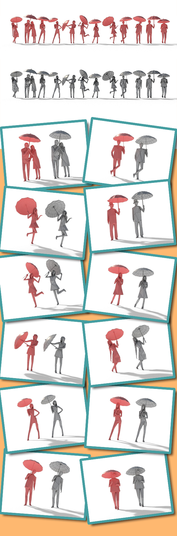 Low Poly Posed People Pack 11 - Umbrella - 3DOcean Item for Sale