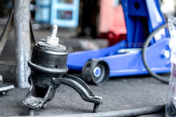 Change new engine mounts,Car maintenance. - Stock Photo - Images