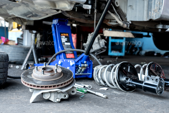 Check brake system and car suspension. - Stock Photo - Images