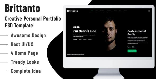 Brittanto - Creative Personal Portfolio PSD Template - Portfolio Creative