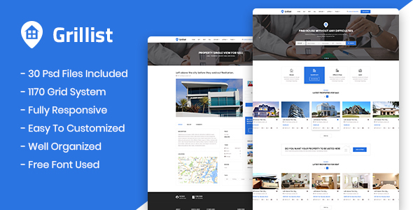Grillist - Real Estate Listing PSD Template - PSD Templates