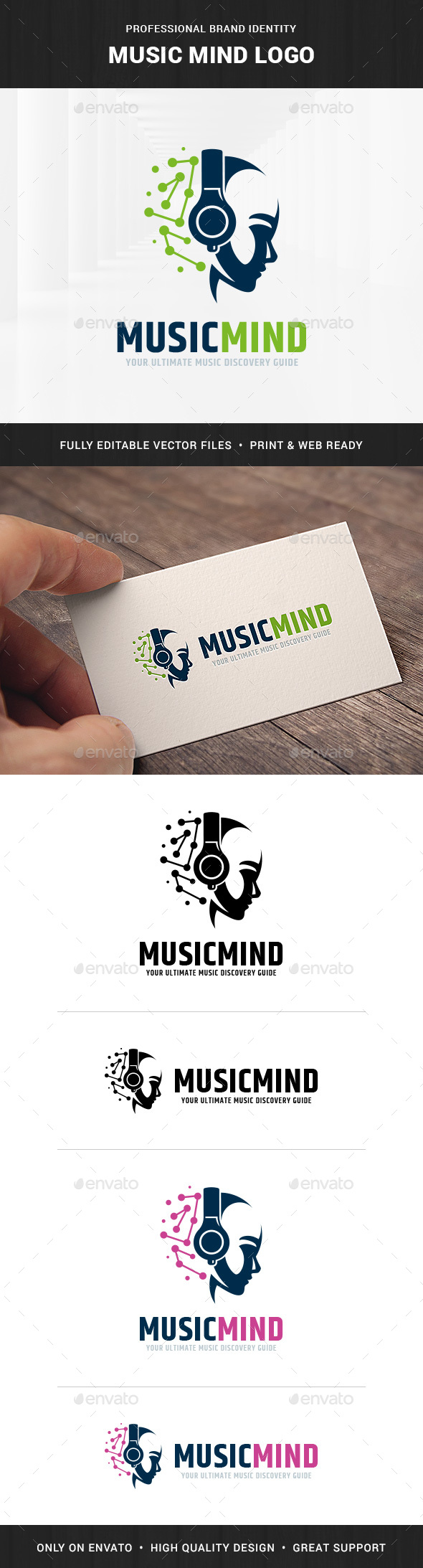 Music Mind Logo Template - Humans Logo Templates