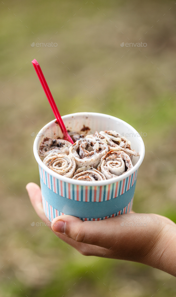 Rolled thai ice cream - Stock Photo - Images
