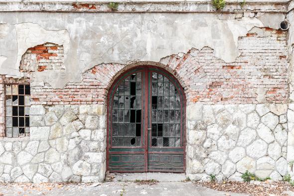 Old door and broken window - Stock Photo - Images