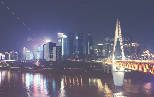 Chongqing City skyline at night, China. - Stock Photo - Images