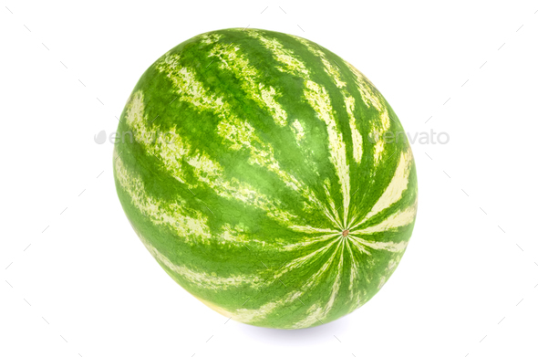 Whole sweet watermelon, front view, on white background - Stock Photo - Images