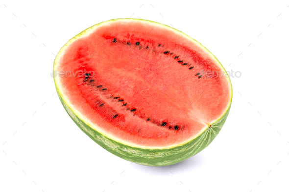 Sweet watermelon half, front view, on white background - Stock Photo - Images