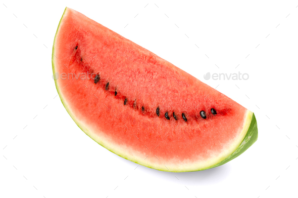 Sweet watermelon slice, front view, on white background - Stock Photo - Images