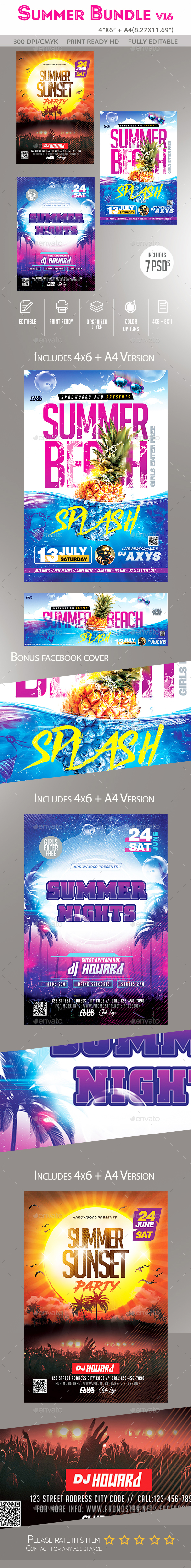 Summer Flyer Bundle v16 - Clubs & Parties Events
