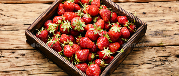 box of strawberries - Stock Photo - Images