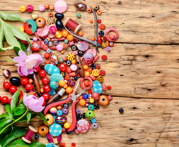 Beads and peony - Stock Photo - Images