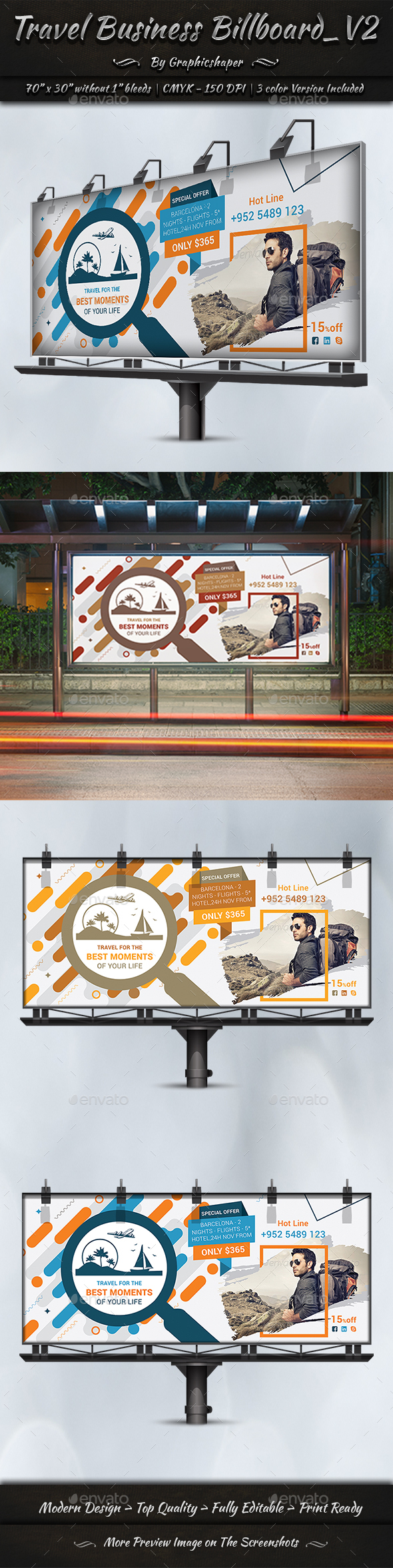 Travel Business Billboard   Volume 2 - Signage Print Templates