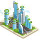 Isometric Futuristic Skyscrapers Colored Composition