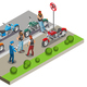 Bikers Meeting Isometric Composition