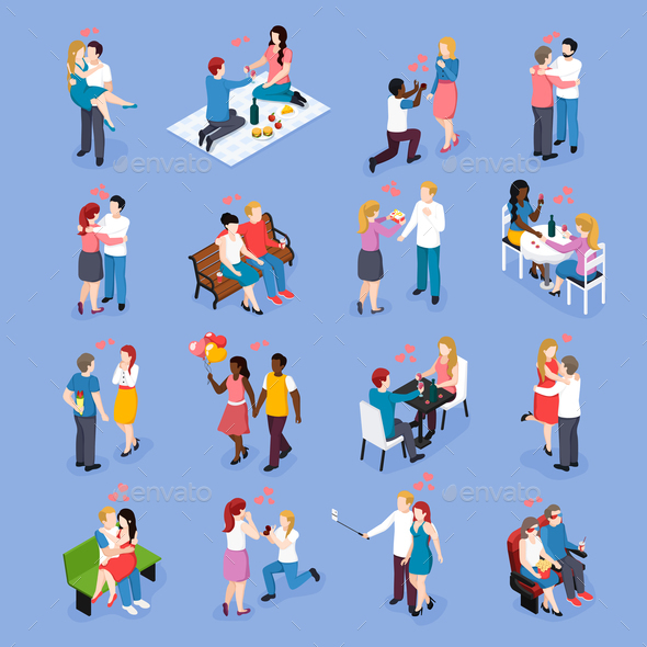 Date Romantic Dinner Isometric Icons - People Characters