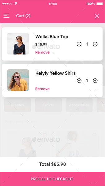 E commerce Fashion App UI Set | Fashionate