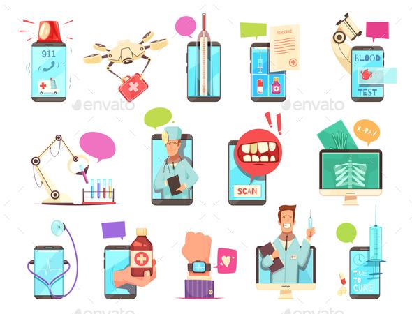 Digital Health Medical Technologies Set - Health/Medicine Conceptual