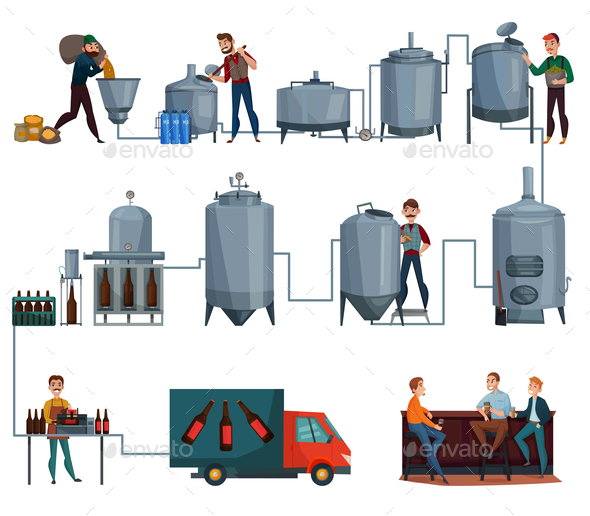 Beer Production Cartoon Set - Food Objects