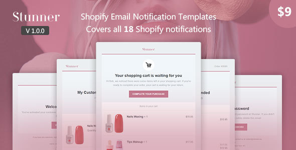 stunner - shopify email notification templates (email templates) Stunner – Shopify Email Notification Templates (Email Templates) 01 preview