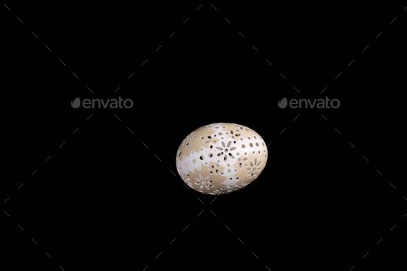 Easter hen's egg with carving. - Stock Photo - Images