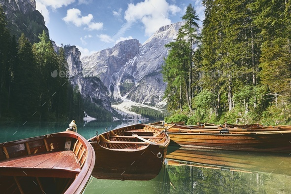 Wooden boats on lake - Stock Photo - Images