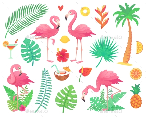 Pink Flamingo and Tropical Plants - Animals Characters