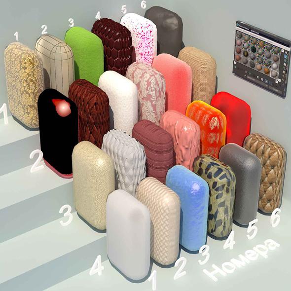 fabric materials. Set-3 (24 materials) - 3DOcean Item for Sale
