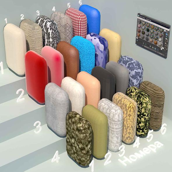 fabric materials. Set-4 (24 materials) - 3DOcean Item for Sale