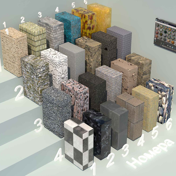 material stone - 1 (24 materials) - 3DOcean Item for Sale