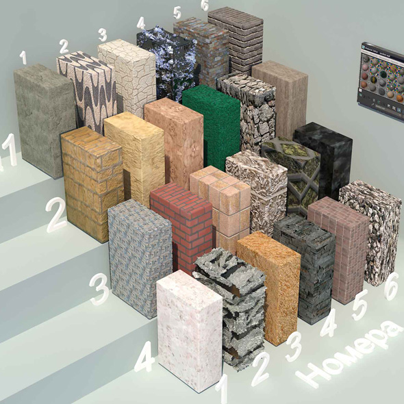 material stone - 3 (24 materials) - 3DOcean Item for Sale