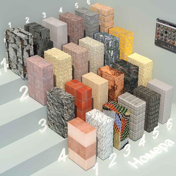 material stone - 4 (24 materials) - 3DOcean Item for Sale