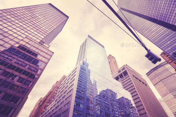 Manhattan skyscrapers, New York City, USA. - Stock Photo - Images