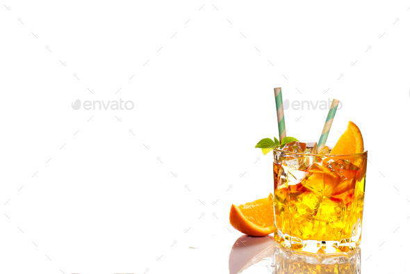 Cocktail sex on the beach, Isolated on white background - Stock Photo - Images