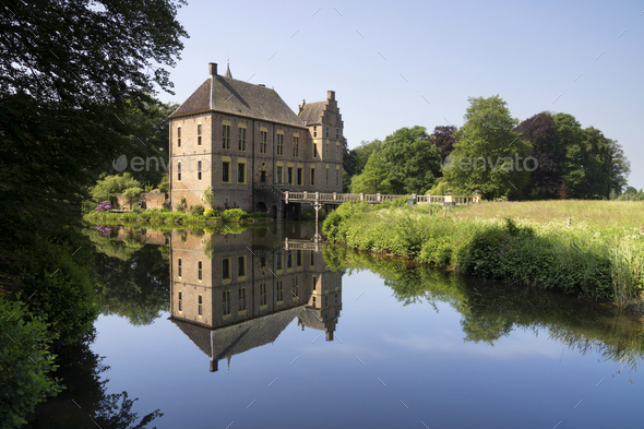 Reflection Vorden castle - Stock Photo - Images