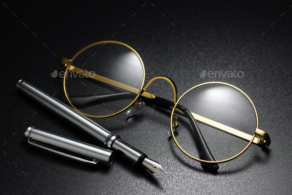 Classic round eyeglasses - Stock Photo - Images