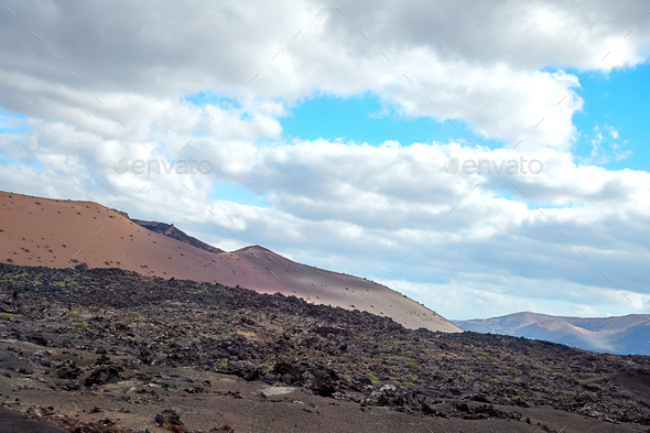 Volcanic landscape of Lanzarote - Stock Photo - Images